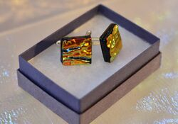 Orange Dichroic Brooch