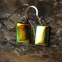 Glass Earrings Golden Forest
