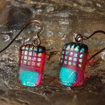 Glass Earrings Pink Pineapple