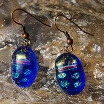Glass Earrings Topaz Gold