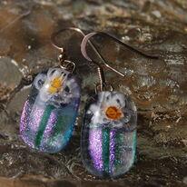 Glass Earrings Flower Bug