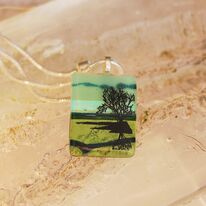 Tree of Life Green Sunset Pendant