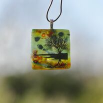Green Autumn Tree of Life Pendant