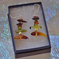 Autumn Resin and Gemstone Earrings