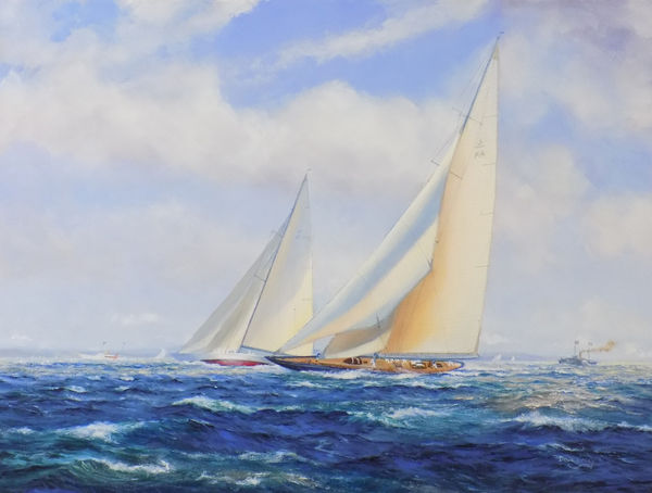 The 1934 America's Cup contest between the Rainbow (USA) and the Endeavour (UK)