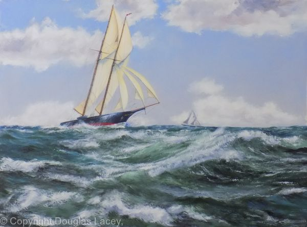 The first trans-Atlantic yacht race, the Dauntless