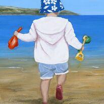 Child on Beach - Running Away