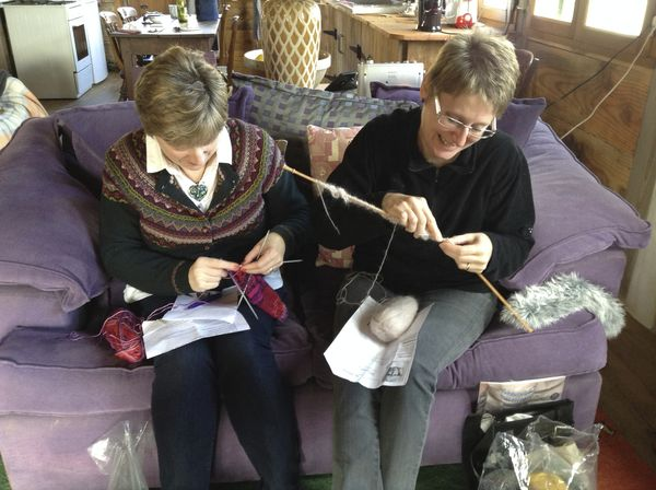 The sisters enjoying a good knit and natter