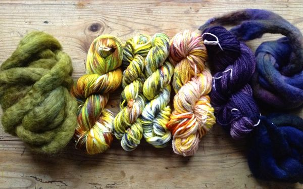 dyed wool tops and yarn
