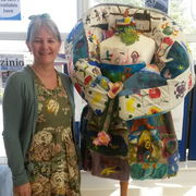 Jaki with the dress which was made at Eastfeild Library in 2014