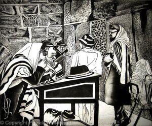 Hassidim At Prayer, The Western Wall, Jerusalem