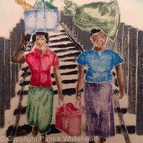 Women Crossing Ubein Bridge, Amarapura