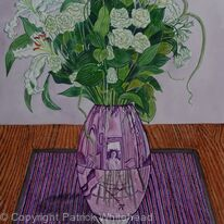 Lilies and Roses in a Purple Vase