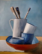 Blue and White Pots with Brushes