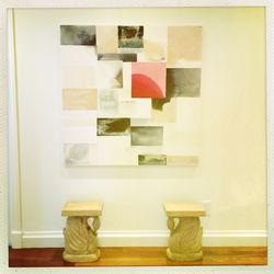 hot pink square bleed no. 3 and serena and lily stools