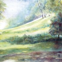 Pond at Saddlescombe by Penny Hopkins