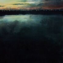 Airport Lights across the River by Krysia Drury
