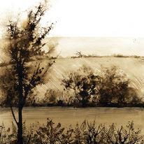 Sepia River Scene