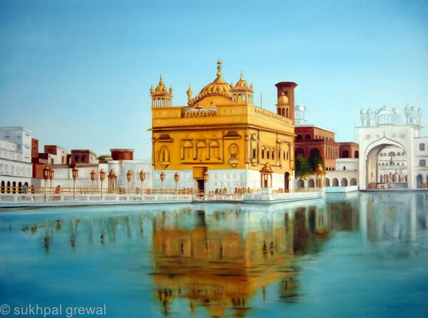 Oil Painting of The Golden Temple