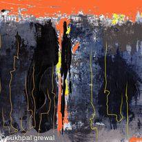 Orange grey abstract