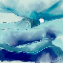 Blue abstract mixed emotions