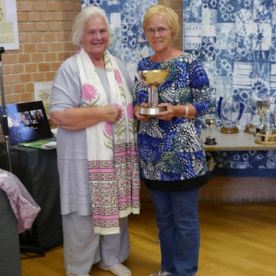 Here's me receiving the Dorset Arts and Crafts Centenary Cup in 2015