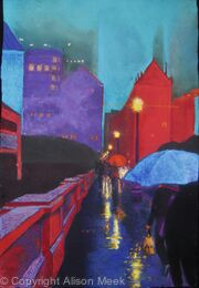 Chicago Street, Rainy Evening (homage to Paris Street, Rainy Day, by Gustave Caillebotte,  Art Institute of Chicago)