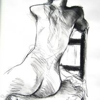 nude, seated, back