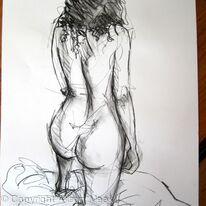Rebecca, kneeling on one knee