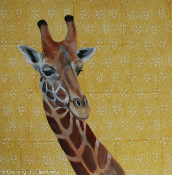 giraffe on yellow block print