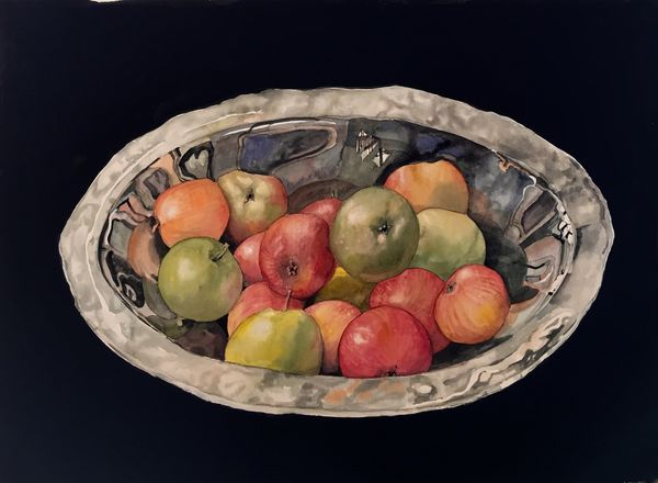 Apples in a Glass Bowl