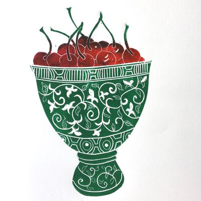 Cherries in Green Bowl