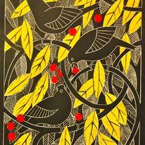Blackbirds in the crabapple tree