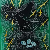 Blackbirds with nest