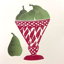 Pears in Red Bowl