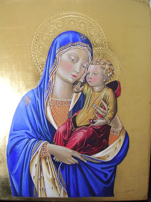 Early Renaissance Italian Style Madonna and Child by Ana Angeli