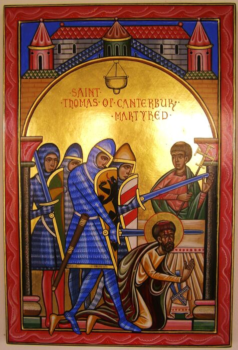 Romanesque style icon of the Martyrdom of St Thomas Becket Archbishop of Canterbury
