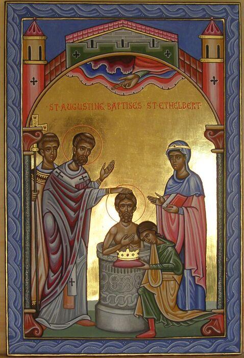 Romanesque Icon of St Augustine Baptizing St Ethelbert