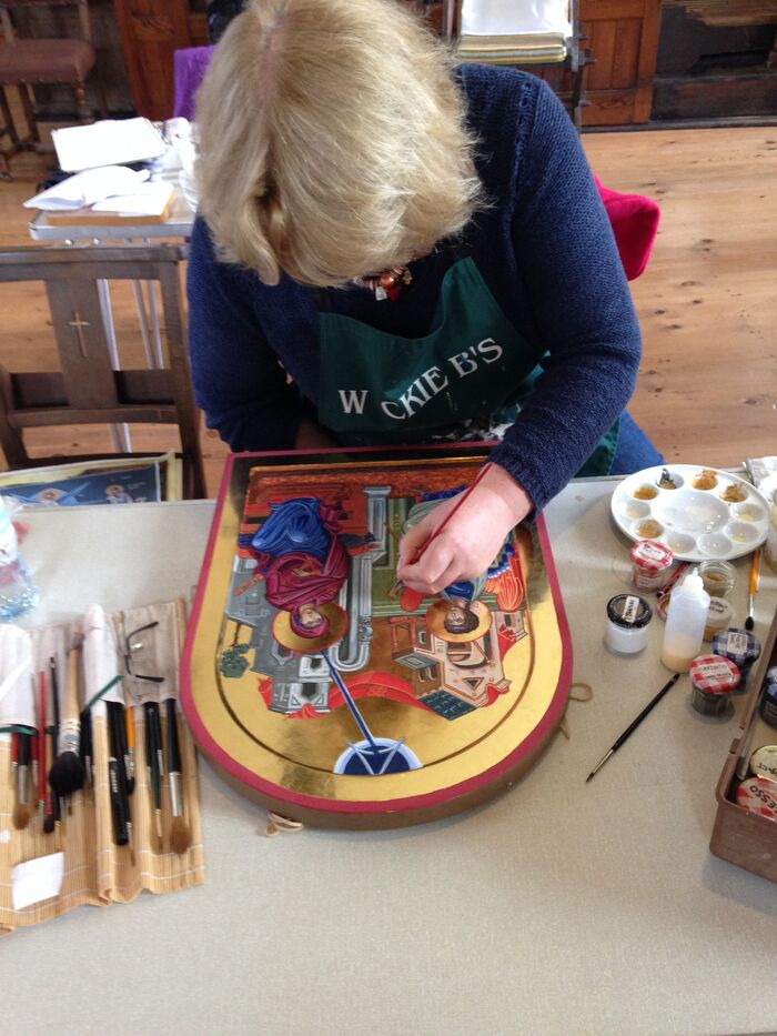 Gabrielle working on an Annunciation Icon