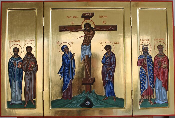 Byzantine Style Triptych with Crucifixion Saints Theodore of Tarsus, Francis, Edward the Confessor and Cuthbert.