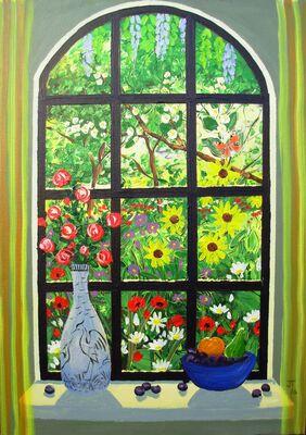 VIEW THROUGH A WINDOW - Beautiful garden
