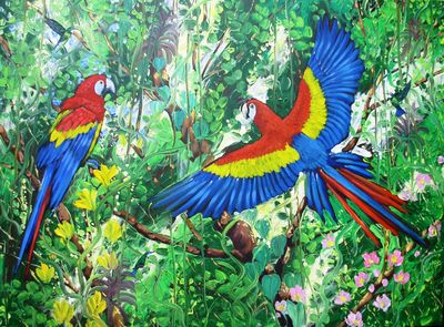 Red Macaws and Humming birds