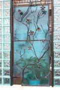 glass  steel gate with vine detail