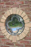 acid washed round window grill