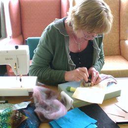 Jen making needlefelt