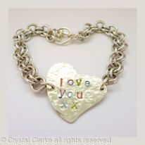 Aluminium Personalised Heart Bracelet