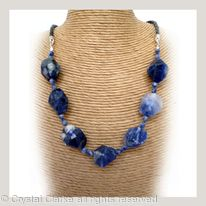 Denim Lapis Faceted Tumbled Bead Necklace