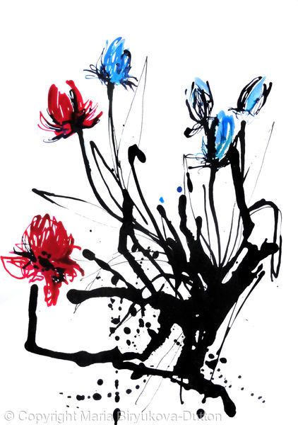 Blue and Red Tulips
