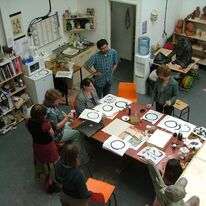 Image 2 - Calligraphy with Masashi during our open studio exhibition  for the the Artists and Makers Festival July 08