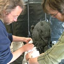 Image 5 - Andrew and Cliff taking the hippogriff out of the silicone rubber mould